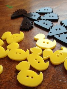 Who doesn't need a set of rubber ducky inspired buttons to finish off their latest craft project? These cute critters are the perfect fun splash of colour! A great addition to anyone's stash, too! I laser-cut all my buttons in a shed in a forest, and p. Laser Cutter Ideas, Laser Cutter Projects, Laser Art, Laser Cut Wood, Cnc Router, Laser Cut Acrylic, Acrylic Laser Cutter, Wood Crafts, Diy Crafts