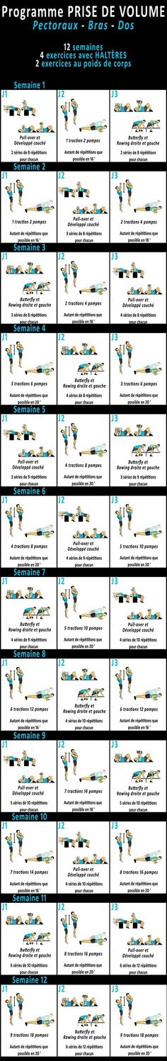 http://entrainement-sportif.fr/programme-prise-de-masse-pectoraux-bras-dos.htm Programme Musculation Prise de #volume pectoraux-bras-dos