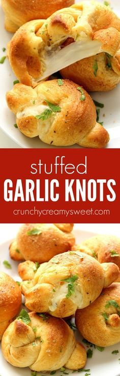 Stuffed Garlic Knots recipe - a restaurant copycat that is crazy easy to make at home! Cheese stuffed garlic knots dipped in Parmesan garlic butter are perfect for a movie night party or a get-together.