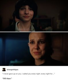 This broke me | Mike Wheeler (Finn Wolfhard) and Eleven / Jane Ives (Millie Bobby Brown) in Stranger Things 2