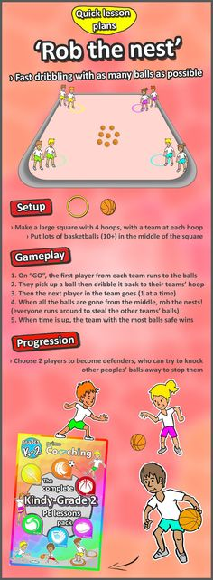 The best PE and sport games for kindergarten grade 1 2 and 3 Rob the nest A quick paced basketball dribbling game. Check out for heaps more.