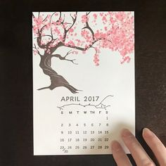 Totally captivated by this 2017 cherry tree calendar from Etsy seller @quickbrownfoxlp. Tree changes each month