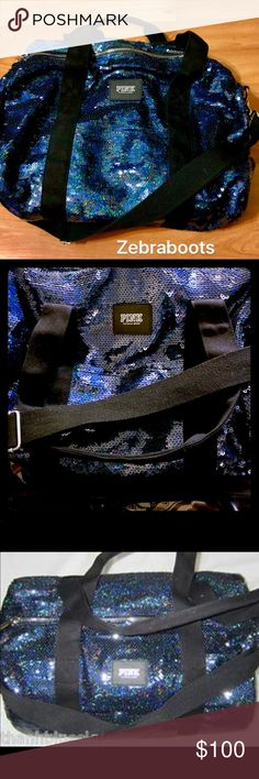 PINK Victoria Secret Sequin Duffle Travel Bag NEW So gorgeous and sought after this Sequin mermaid 🧜♀️ Royal Blue Duffle or overnight bag perfect to load up and go in sparkle style  Great shoulder Thick adjustable Strap  One interior Pocket  Full zip closure  Brand New  Dual handles PINK Victoria's Secret Bags