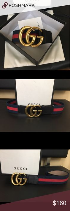 New with tags Gucci Web Belt Unisex Interlocking Gold G buckle strap in blue  red Sz- availability below Brand new comes with tags .. box and dust bag. Please be serious buyer -- i am serious and i do fast shipping as well. Gucci Accessories Belts