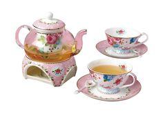 Amazon.com | Jsaron China Porcelain Coffee Cups Flower Series Teacup Saucer Spoon with Pot & Filter, 10pcs in 1 Set: Tea Sets