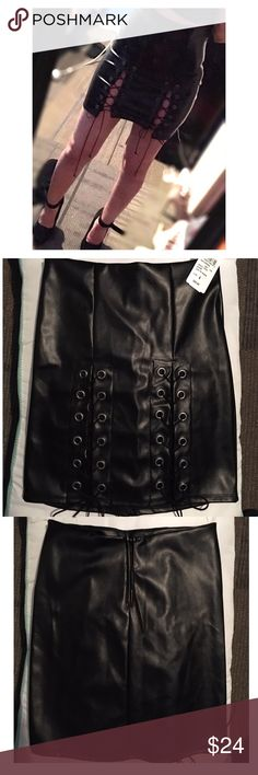 Windsor lace high waisted faux leather skirt Black Faux leather lace skirt Windsor Skirts Mini