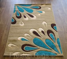 Lovely Rug Modern Floral Beige Teal Blue Brown Small Medium Large   4 Sizes  Available
