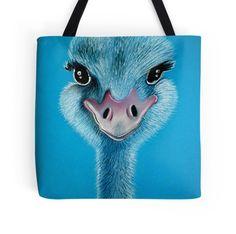 Fun #tote #bags with #ostrich #design (artist: Cherie Roe Dirksen)