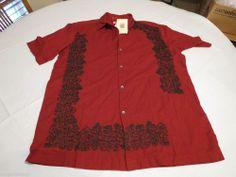 Men's British India Traveller button up shirt RARE short sleeve large L brnt red #BritishIndiaTraveller #ButtonFront
