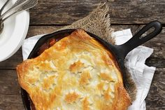Skillet Beer-Braised Beef and Vegetable Pot Pie with Puff Pastry Topping - the filling can be made in advance!