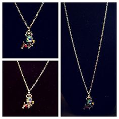 Buy 2 Get 3 FREE! Owl necklace Multicolored crystals on silver owl charm. Jewelry Necklaces
