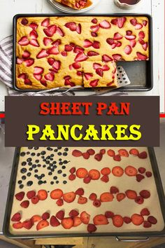 Sheet Pan Pancakes with mixed berries and homemade pancake batter let you make pancakes for a crowd without standing over the oven! Simple Recipes, Delicious Recipes, Yummy Food, Popular Food, Popular Recipes, Vegan Cheesecake, Cheesecake Recipes, Meal Recipes, Cooking Recipes