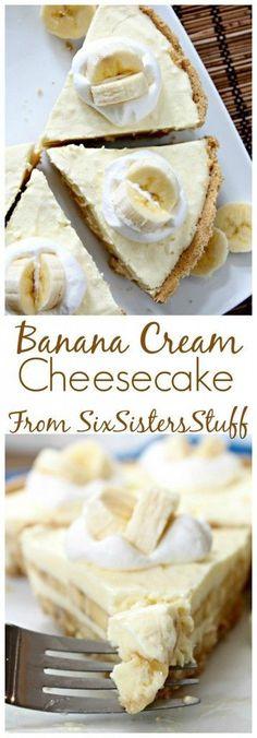 Banana Cream Cheesecake from SixSistersStuff.com | Best Dessert Recipes | Easter Dinner Ideas | Cheesecake Recipes