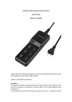 JoyNano 36W 6-Port USB Desktop Charger Data Sheet 5V 1A 2A 2.1A 2.4A Charging Station