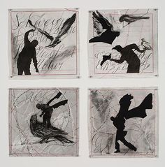 Drawings from Preparing the Flute (Bird Catcher) William Kentridge Art, Intaglio Printmaking, Shadow Silhouette, San Francisco Museums, South African Artists, Museum Of Modern Art, Animation Film, Creative Inspiration, Collage Art