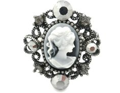 """New Cameo Crystal Ring Size 6-8"""" Ajustable Cocktail Gray Antiqued Silver Tone #Unbranded #CameoStatement"""