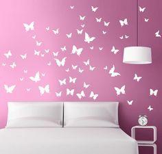 FARFALLE IN VOLO adesivo murale 39 € MADE IN ITALY Bedroom Wall Designs, Bedroom Wall Colors, Diy Room Decor, Bedroom Decor, Wall Decor, Girl Room, Girls Bedroom, Room Wall Painting, Home Room Design