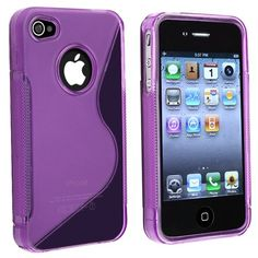 eForCity TPU Rubber Skin Case Compatible With Apple® iPhone® 4, Clear Dark Purple S Shape | Love yourself