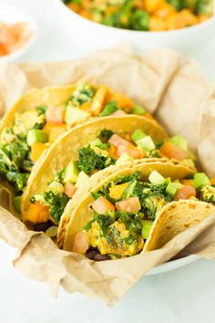 Superfood Breakfast Tacos - Delicious tacos with sweet potato, kale, black beans and cheese!