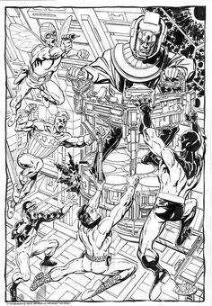 Mighty Crusaders vs Kang by John Byrne