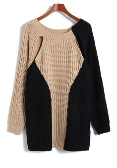 Khaki Black Patchwork Hollow-out Long Sleeve Knit Sweater