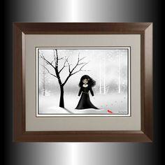 Dark Goth Girl Digital Art Painting  Winter Scene  by RusticGoth