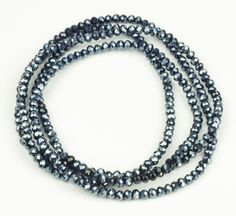 Super lækre Lang elastisk halskæde med blank sorte krystal perler bitavant Modetøj til Damer til enhver anledning
