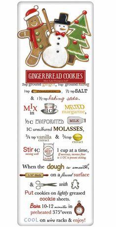 Santa's Gingerbread Cookies Recipe 100% Cotton Flour Sack Dish Towel Tea Towel