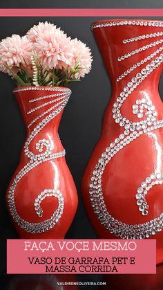 Diy Crafts Hacks, Diy Crafts For Gifts, Diy Home Crafts, Diy Arts And Crafts, Glass Bottle Crafts, Plastic Bottle Crafts, Diy Bottle, Plastic Vase, Vase Crafts