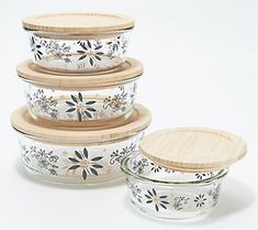 Don't you love when things just fit into place, perfectly? These four glass storage containers nest together for chaos-free cabinets and drawers. From Temp-tations® Ovenware. Glass Containers With Lids, Storage Sets, Kitchen Organization, Bamboo, Decorative Boxes, Nest, Cabinets, Drawers, Qvc