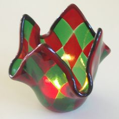 Christmas is far off but this is just so pretty....Red and Green  Fused Glass Candleholder / Dish by lazydogarts, $24.95