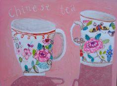 Andrea Letterie, Chinese tea, Gemengde techniek op paneel,18x24 cm, €.250,-