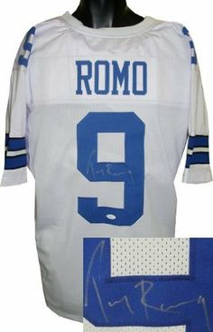 Tony Romo signed Dallas Cowboys White Prostyle Jersey- JSA Hologram . $362.52. Tony Romo is the starting Quarterback for the Dallas Cowboys and has been elected to 3 Pro Bowls. He holds the Cowboys record for 300+ Passing yard games and is tied with Troy Aikman for throwing the most touchdowns (5) in a single game. He has thrown for over 15,000 yards and 100 touchdowns over his career. Romo finished the 2009 season as the first quarterback in team history to take every sna...