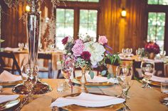 Purple and Gold Wedding Reception | photography by http://www.markwilliamsstudio.com