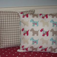 Dog Themed 16 inch Pillow Covers Cushion Cover Pink Taupe Duckegg on White Dog Pattern with Taupe and White Gingham Check Shabby Chic on Etsy, $28.64