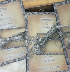 Silver grey and ivory Wedding Invitations  by youruniquescrapbook, £3.50