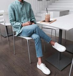 37 Super Ideas for fashion mens summer outfit ideas Korean Fashion Men, Korea Fashion, Korean Men Style, Sneakers Outfit Men, Sneakers Fashion, Denim Sneakers, Look Fashion, Trendy Fashion, Fashion Ideas