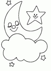drawing stars moon cute for a baby card