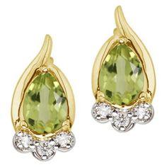 14K Yellow Gold August Birthstone Pear Peridot and Diamond Earrings
