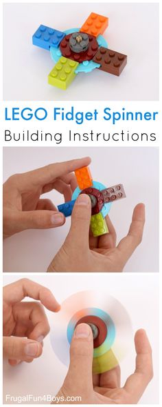 How to Build a LEGO Fidget Spinner - So cool!!! Step by step instructions #make #DIY #kids #projects #camp #fidget_spinner #activities #school #classroom #lego and the post has a video too.