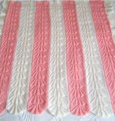 Free Knitting Pattern for Shell Baby Blanket - The Heirloom Knit Baby Blanket in knit in panels, seamed, and then the lace border is added. Approximately 35″ by 42″. Posted by Craft Yarn Council. Pictured project by filis who modified the border.