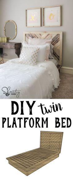 DIY Twin Platform Chevron Bed