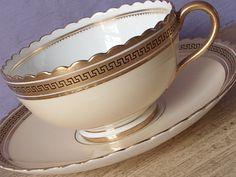 Antique 1890's English teacup and saucer, Cauldon Victorian tea cup, Peach tea cup, greek key teacup, Antique teacup, gold china teacup by ShoponSherman on Etsy