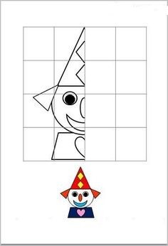 Arts And Crafts House Math For Kids, Activities For Kids, Crafts For Kids, Arts And Crafts, Circus Art, Circus Theme, Theme Carnaval, Symmetry Activities, Clown Crafts