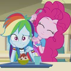 #1508012 - cute, diapinkes, equestria girls, food, fork, pasta, pinkie on the one, pinkie pie, rainbow dash, rainbow rocks, safe, screencap, spaghetti, spoon - Derpibooru - My Little Pony: Friendship is Magic Imageboard