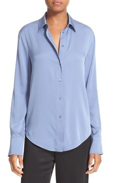Vince Slim Fit Stretch Silk Blouse available at #Nordstrom