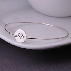 Bangle Bracelet Heart Jewelry Love Bracelet by georgiedesigns, $32.00
