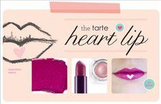 "Tarte Heart: Tarte Glamazon Pure Performance Lipstick in ""Playful."" + Tarte Seashell Pink Eyeshadow applied as heart"
