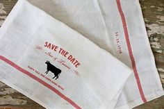 Iris and Travis first met at a bar called Butter, and this simple ingredient served as the inspiration for an elegantly rustic, farmstand chic wedding, starting with these tea towel save-the-dates by Viola from Chewing the Cud.