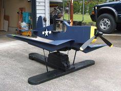 Airplane rocker with gas springs - F4U Corsair